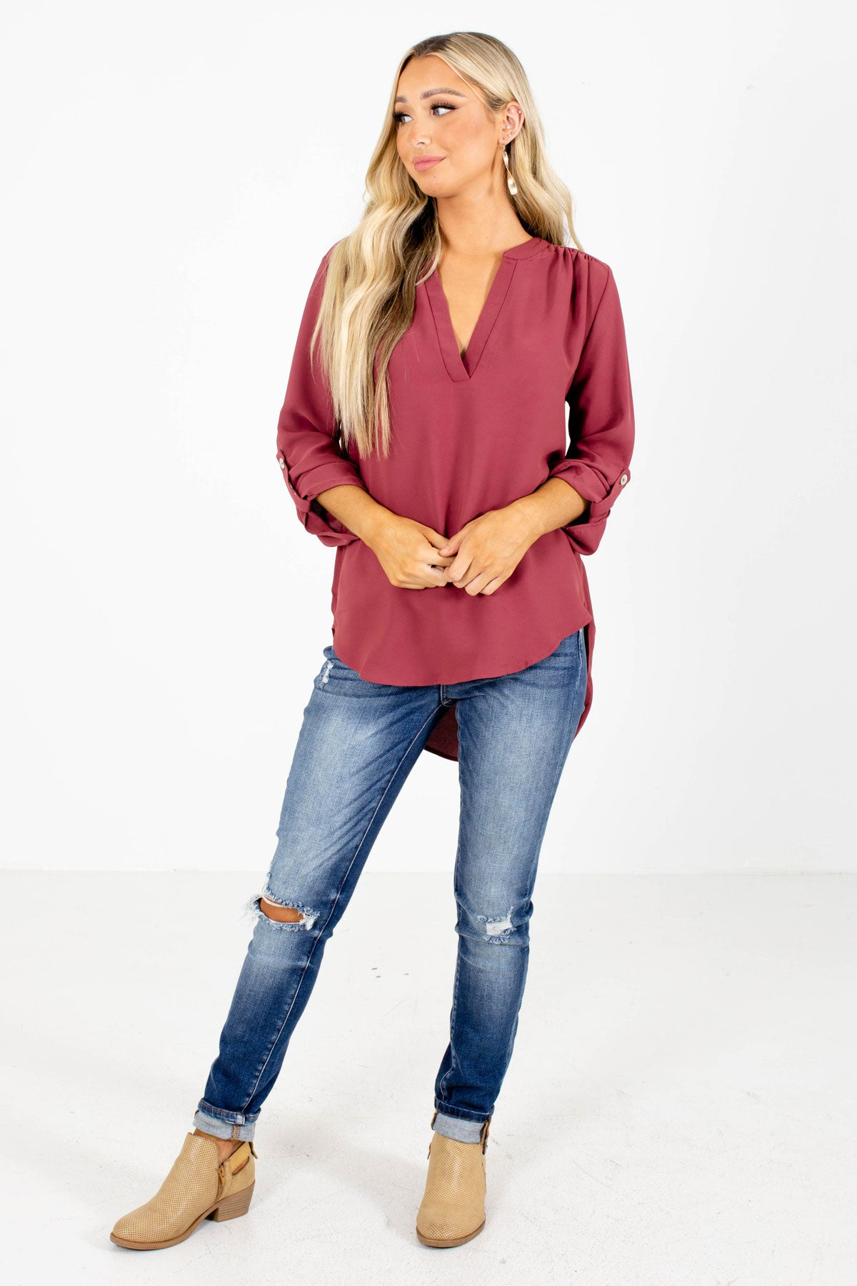 Red Blouse Women Boutique Clothing