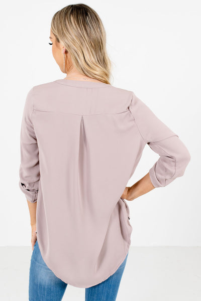 Women's Taupe Brown High-Low Hem Boutique Blouse