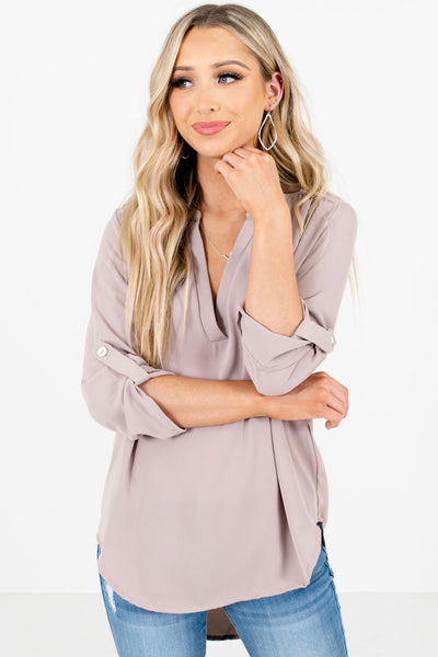 Women's Taupe Brown Business Casual Boutique Clothing
