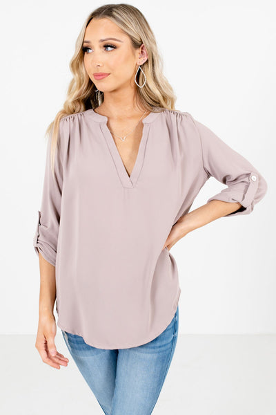 Taupe Brown Split V-Neckline Boutique Blouses for Women