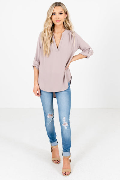 Taupe Brown Cute and Comfortable Boutique Blouses for Women