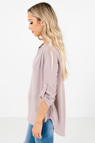 Taupe Brown ¾ Length Sleeve Boutique Blouses for Women