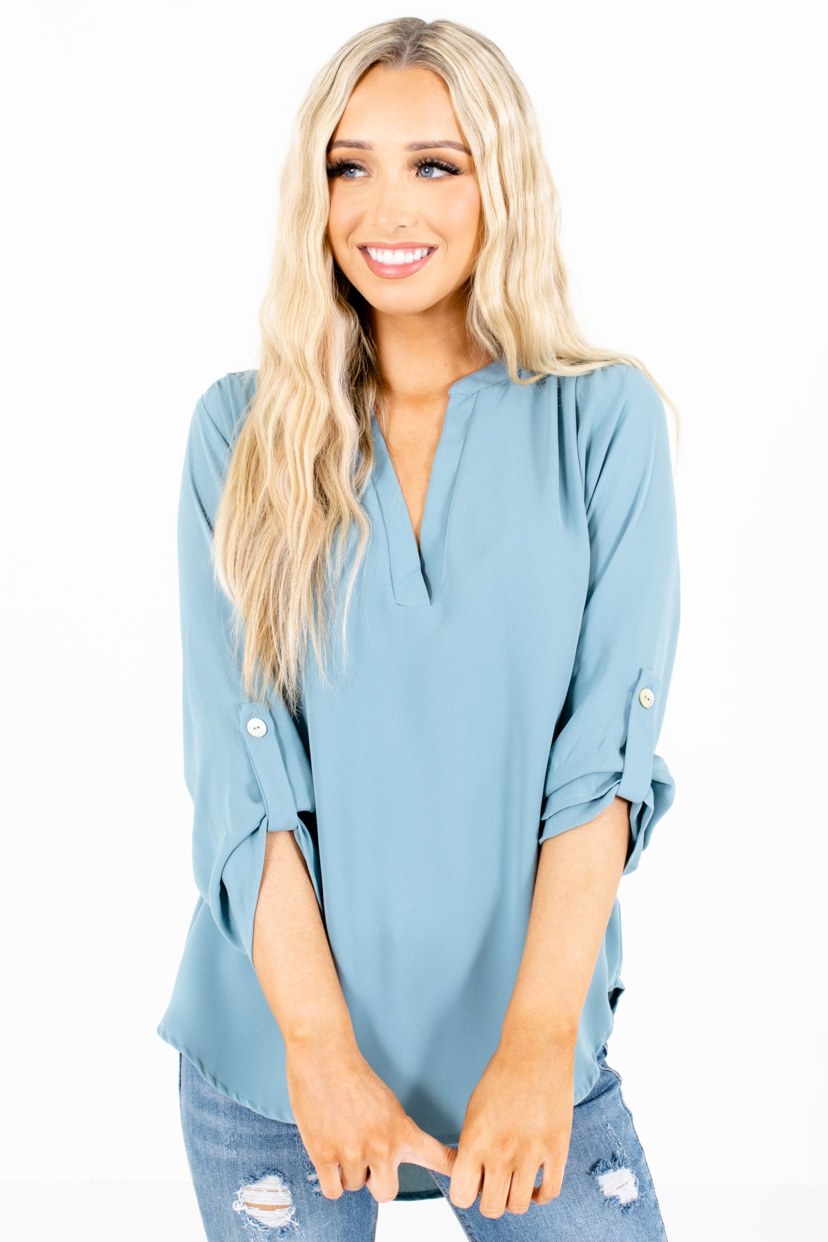 Blue Split V-Neckline Boutique Blouses for Women