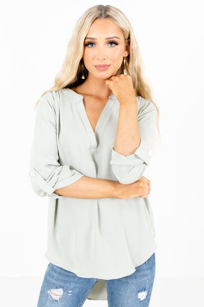 Sage Green Split V-Neckline Boutique Blouses for Women