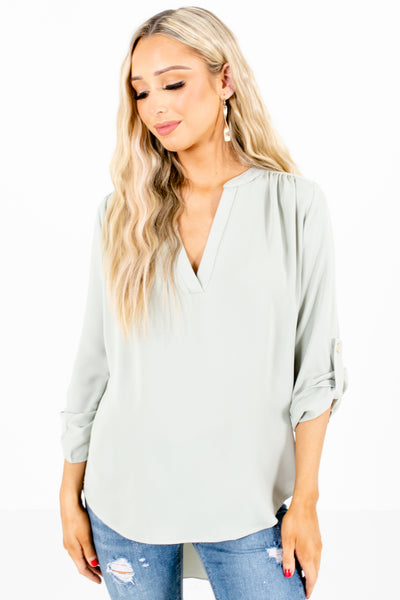 Sage Green Cute and Comfortable Boutique Blouses for Women