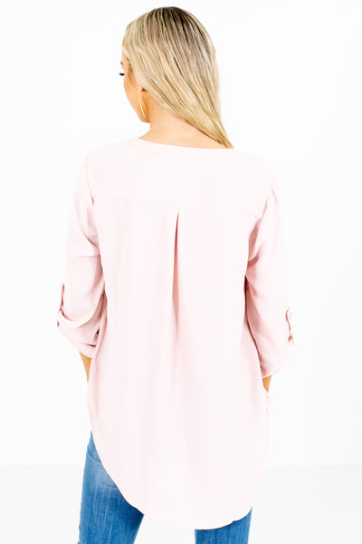 Women's Blush Pink Pleated Accented Boutique Blouse