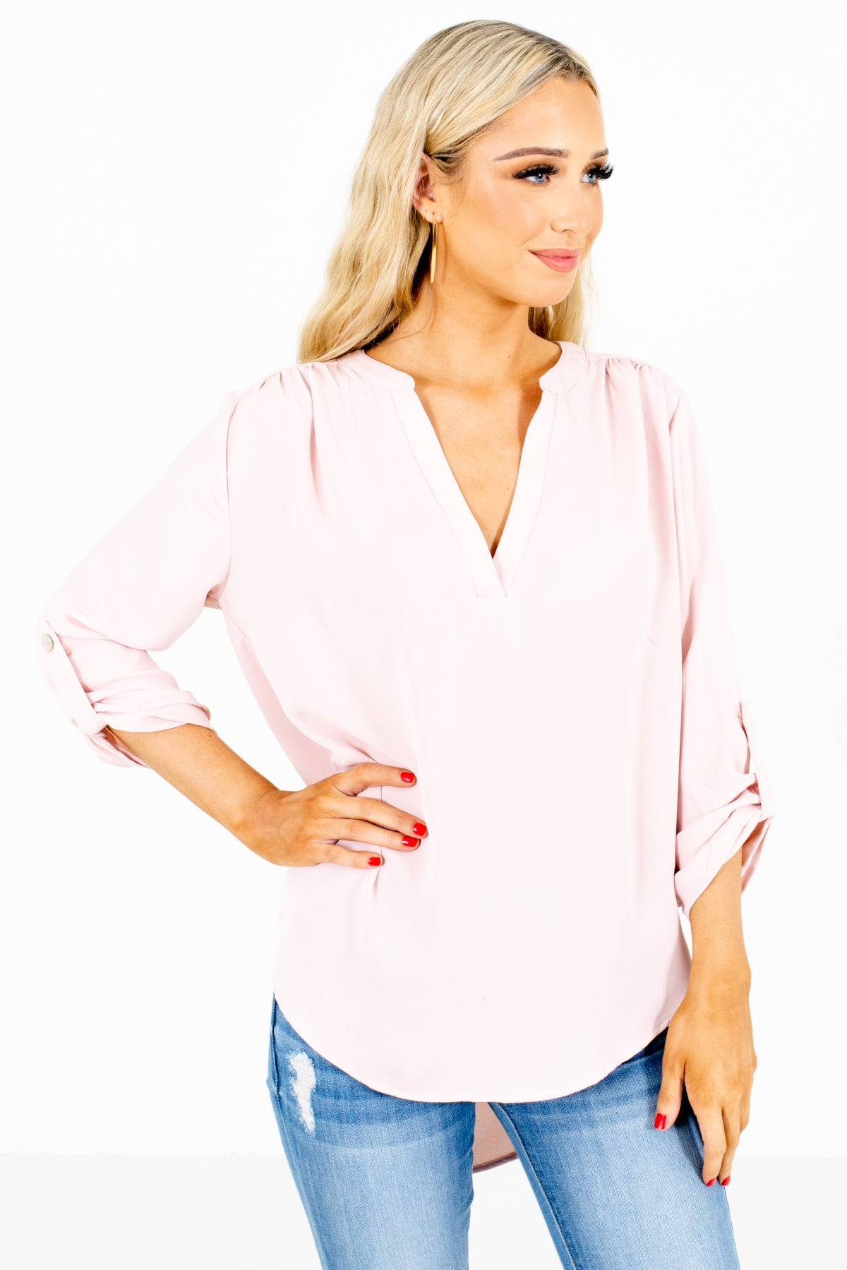 Blush Pink Split V-Neckline Boutique Blouses for Women