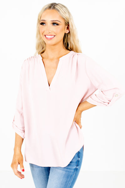 Women's Blush Pink Business Casual Boutique Blouse