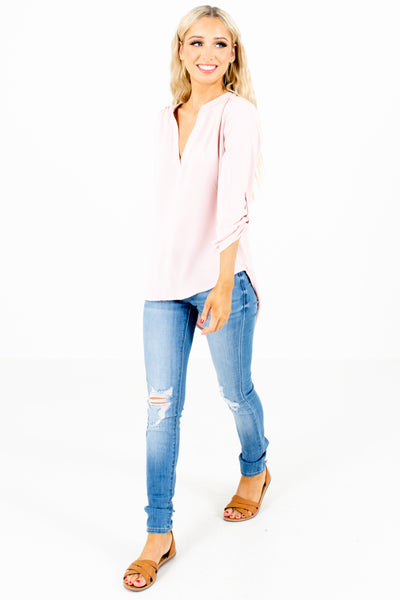 Blush Pink High-Low Hem Boutique Blouses for Women