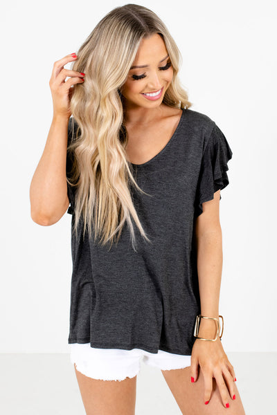 Charcoal Gray Flutter Sleeve Boutique Blouses for Women