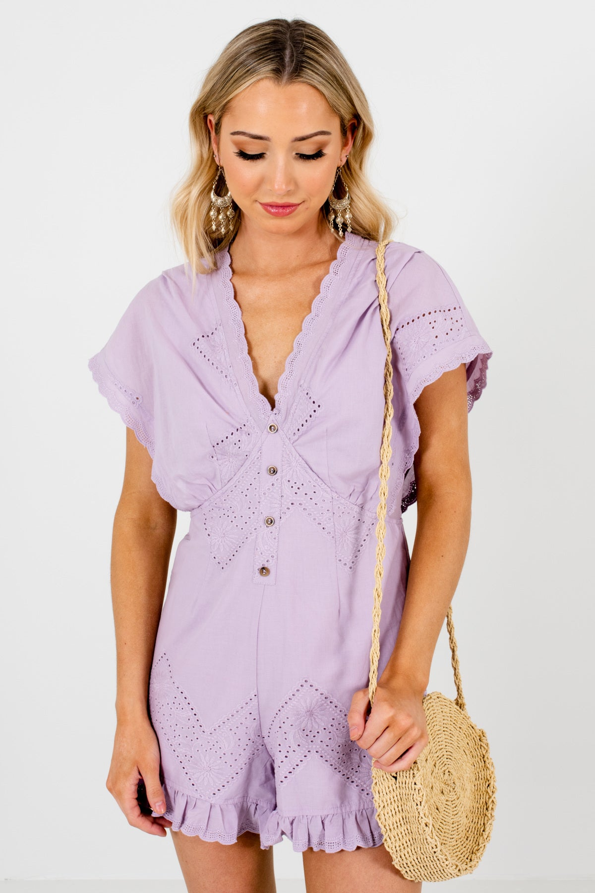 Lilac Purple Eyelet Lace Scalloped Ruffle Boutique Rompers for Women