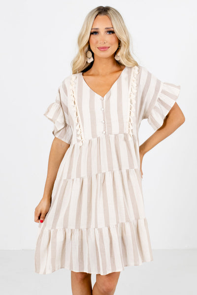 Beige and Cream Striped Boutique Mini Dresses for Women