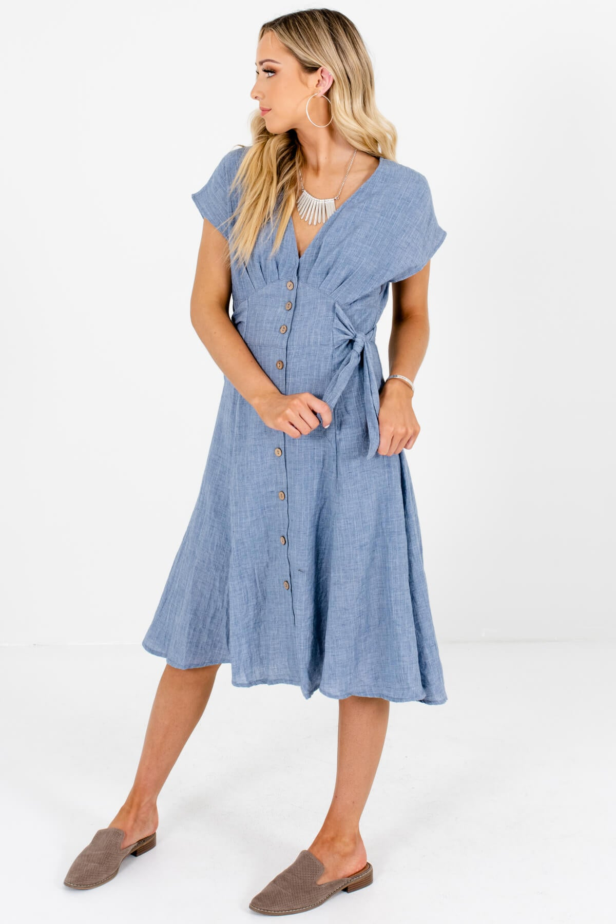 Blue Side Tie Button-Up Midi Dresses Affordable Online Boutique