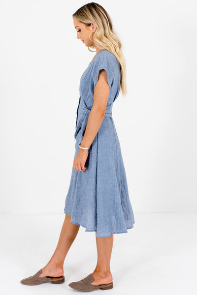 Blue Button-Up Midi Dresses with Side-Tie Details