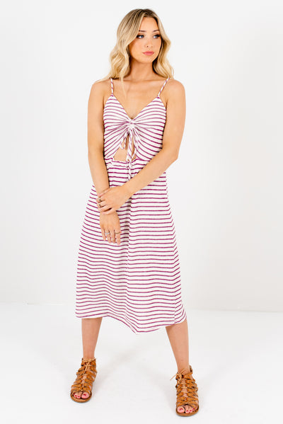 Cream and Purple Striped Cutout Detail Boutique Midi Dresses for Women