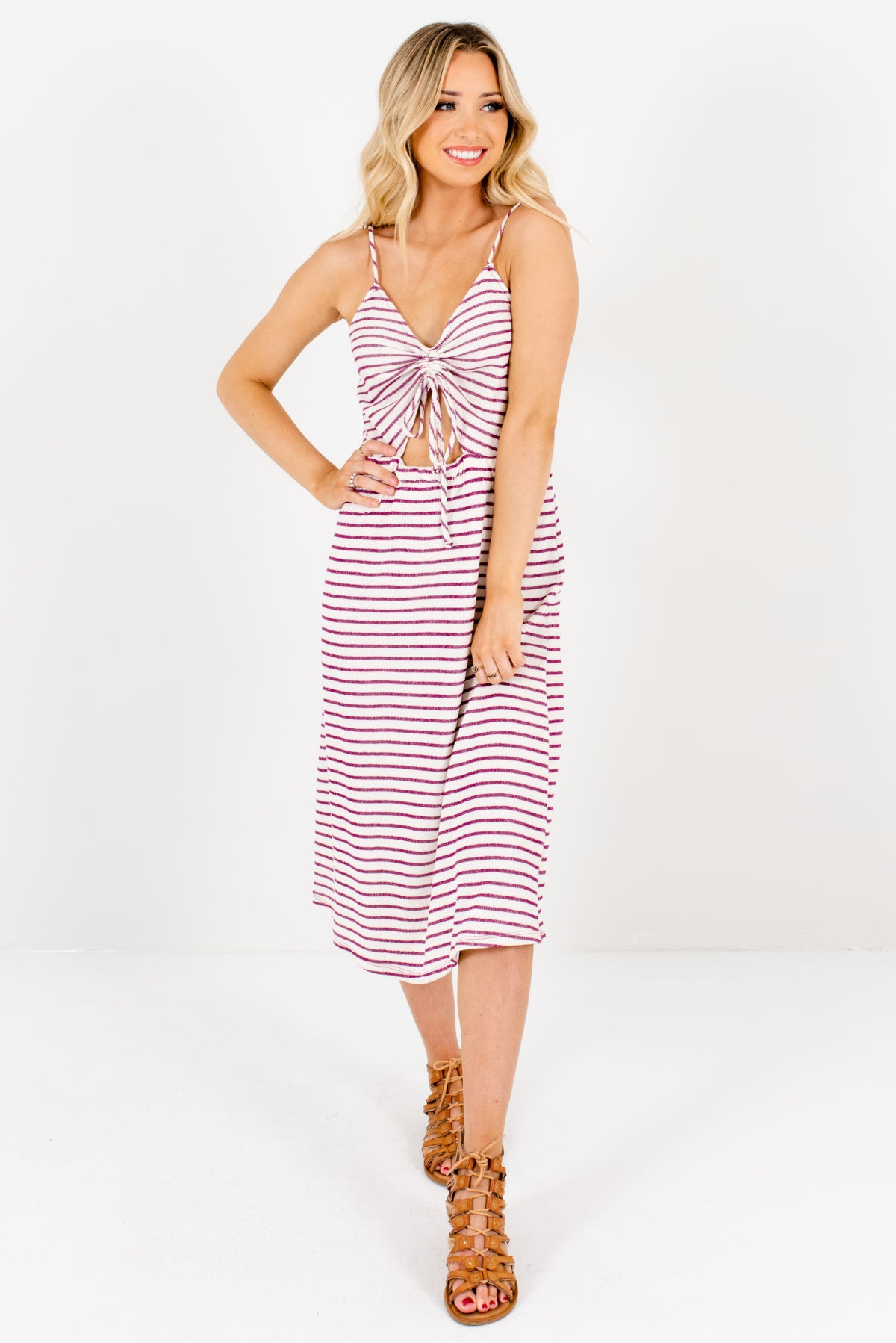 Cream and Purple Striped Boutique Midi Length Dresses for Women