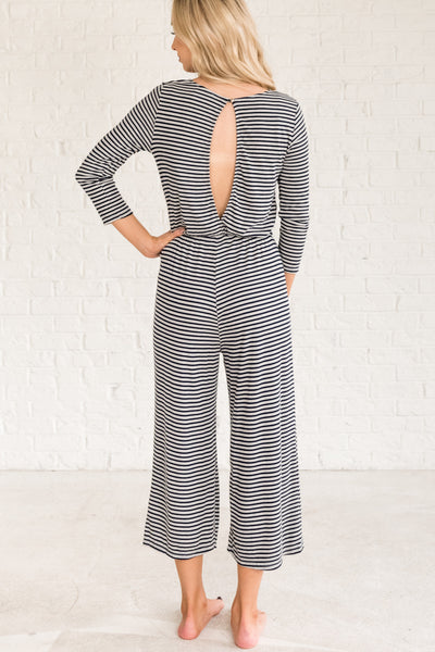 Navy Blue Gray Lounge Wear Long Jumpsuits for Women