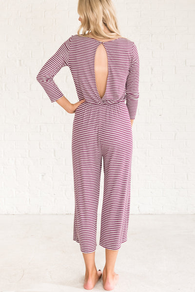 Wine Purple Gray Striped Cozy Long Jumpsuits for Christmas Pajamas