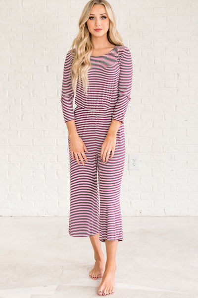 Wine Burgundy Purple Gray Striped Jumpsuits for Women
