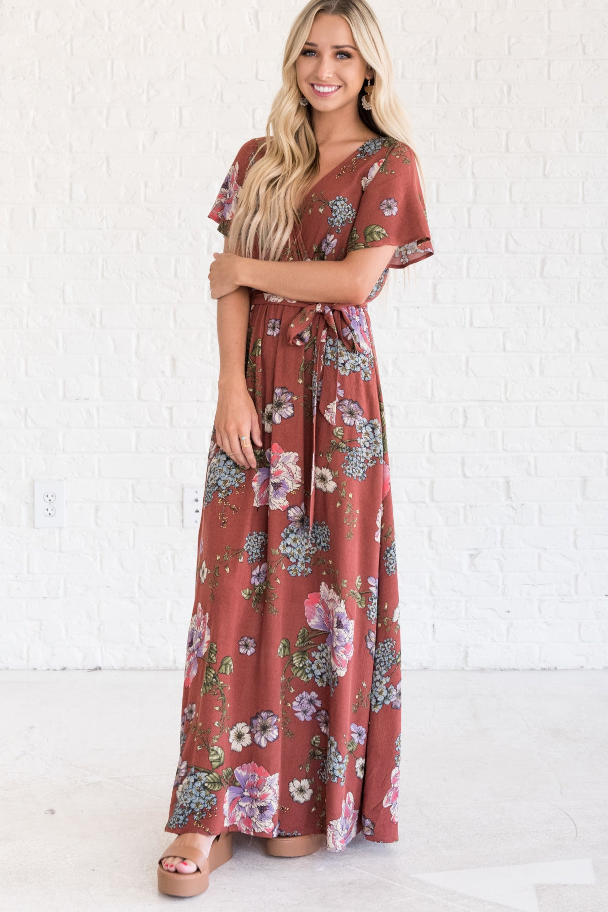 6403b720cae7 C'est La Vie Brick Red Floral Maxi Dress | Special Occasion Dresses