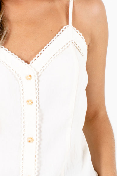 Women's Cream Crochet Detailed Boutique Tank