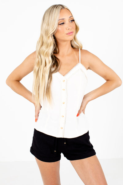 Cream Button-Up Front Boutique Tank Tops for Women