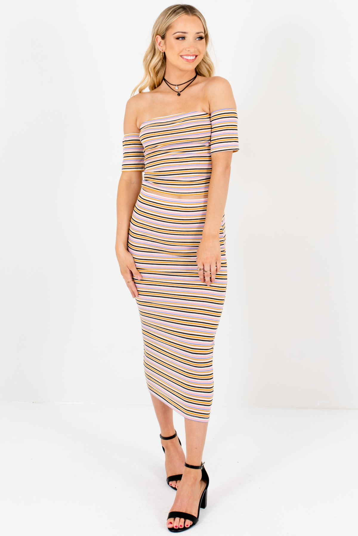 Mustard Multi Striped Boutique Two-Piece Sets for Women
