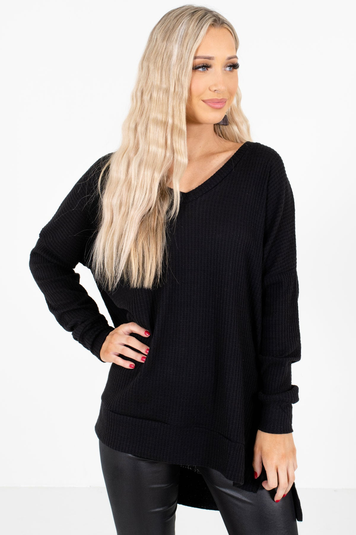 Call Me Maybe Black Waffle Knit Top