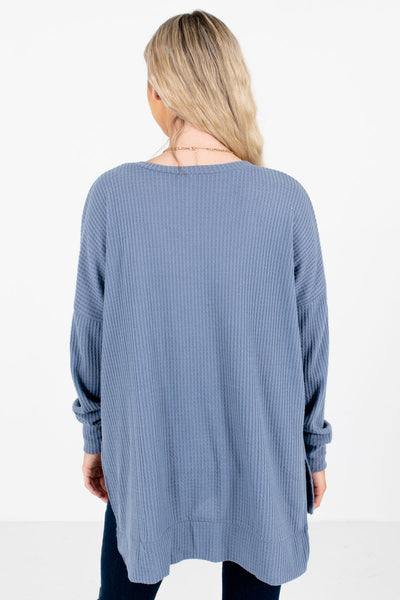 Women's Blue V-Neckline Boutique Waffle Knit Tops