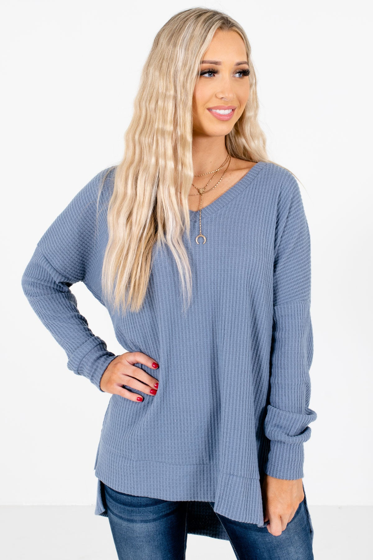Blue High-Quality Waffle Knit Material Boutique Tops for Women