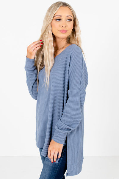 Blue Split High-Low Hem Boutique Tops for Women