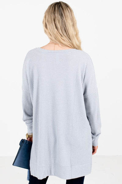 Women's Gray V-Neckline Boutique Waffle Knit Tops