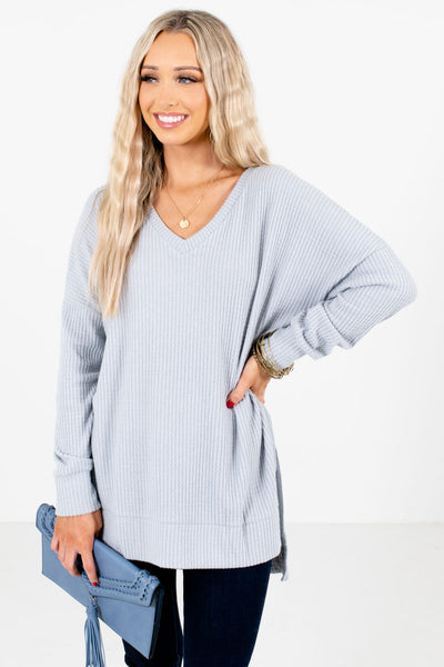 Gray High-Quality Waffle Knit Material Boutique Tops for Women