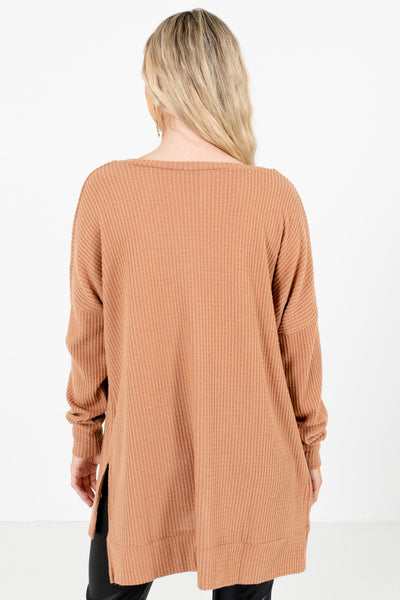 Women's Tan Brown V-Neckline Boutique Waffle Knit Tops