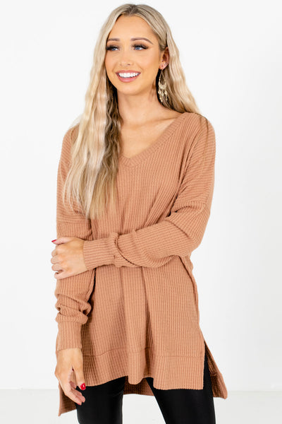 Women's Tan Brown Casual Everyday Boutique Tops