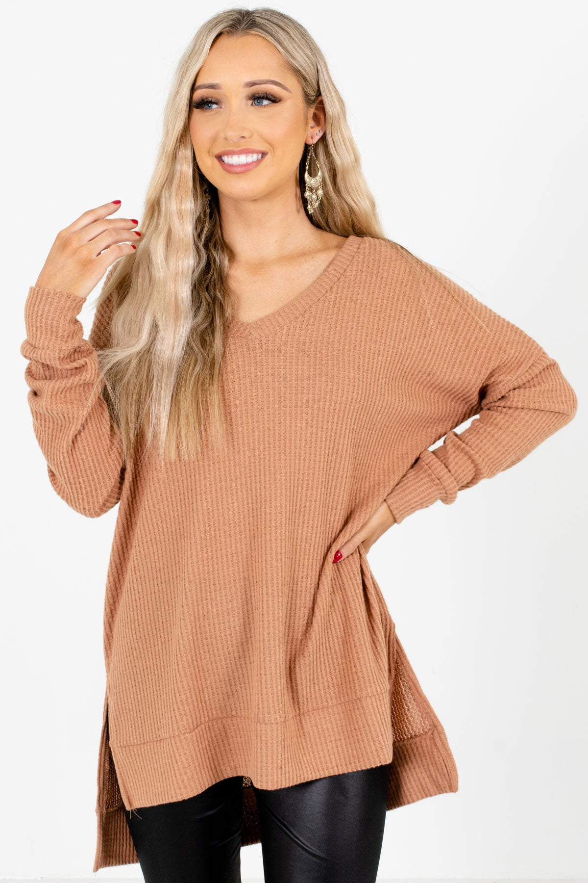 Tan Brown High-Quality Waffle Knit Material Boutique Tops for Women