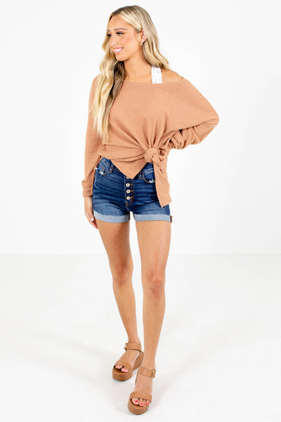 Thinking About You Tan Brown Waffle Knit Top