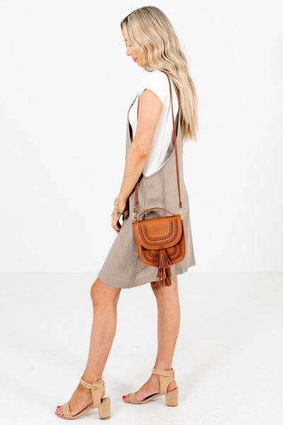 Brown Tank Style Boutique Mini Dresses for Women