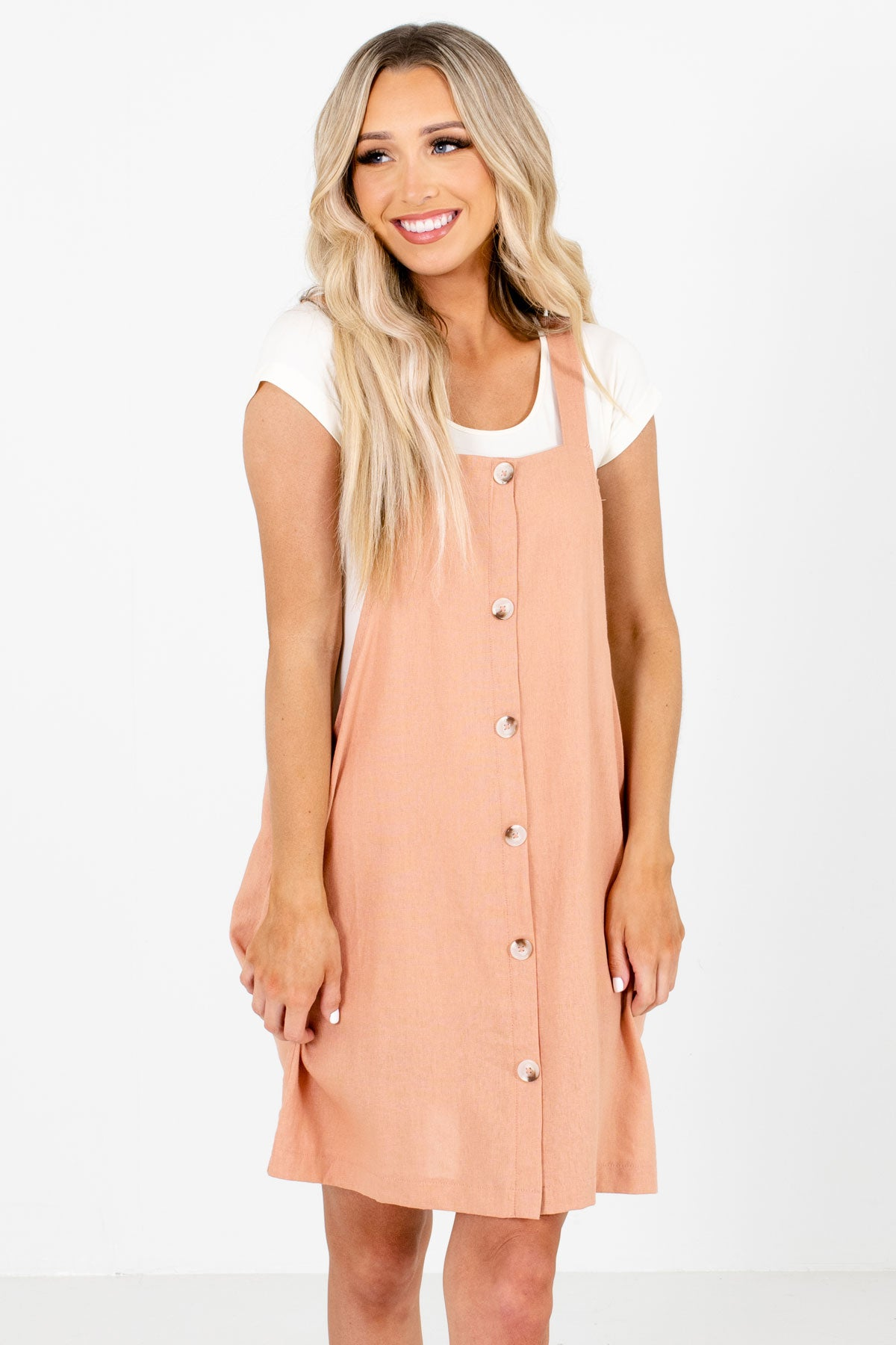 Pink Decorative Button Boutique Mini Dresses for Women