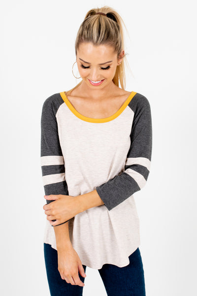 Heather Beige Multicolored Boutique Tops for Women