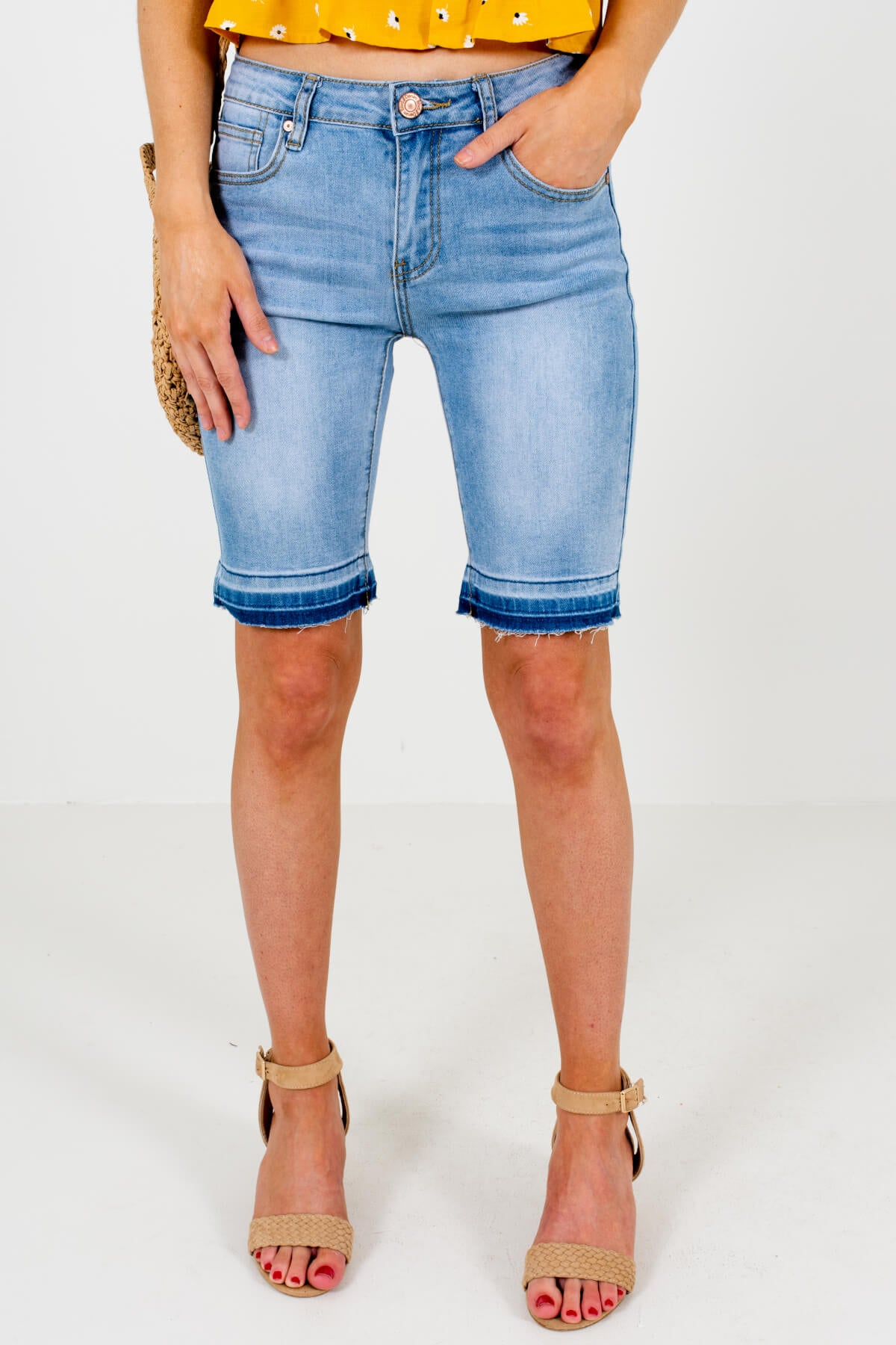 Medium Wash Blue Denim Bermuda Style Boutique Shorts for Women