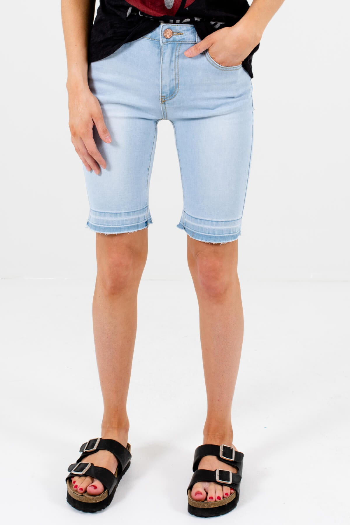 Light Wash Blue Denim Bermuda Style Boutique Shorts for Women