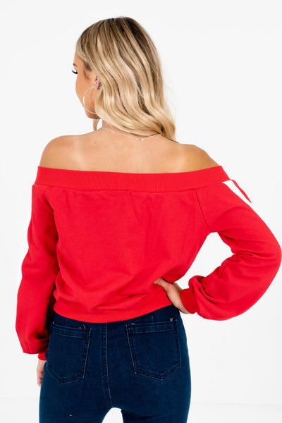 Women's Red Off Shoulder Style Boutique Pullover