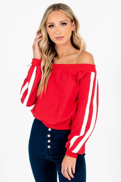 Red with White Sleeve Stripes Boutique Pullovers for Women