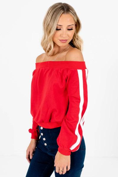 Red High-Quality Thick Material Boutique Pullovers for Women