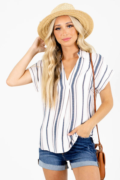 Blue Striped Boutique Tops for Women