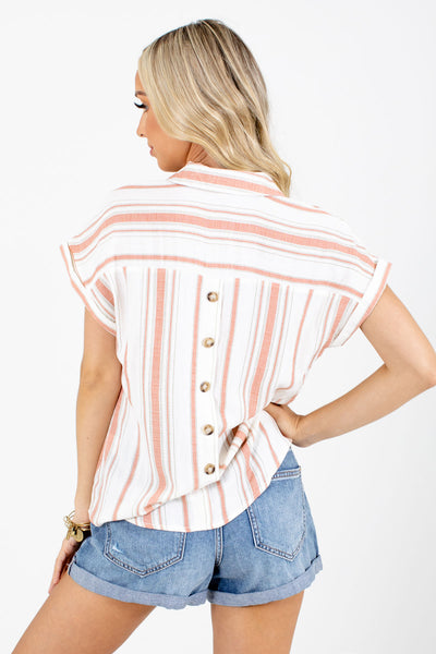 Women's Coral Pleated Accent Boutique Shirt