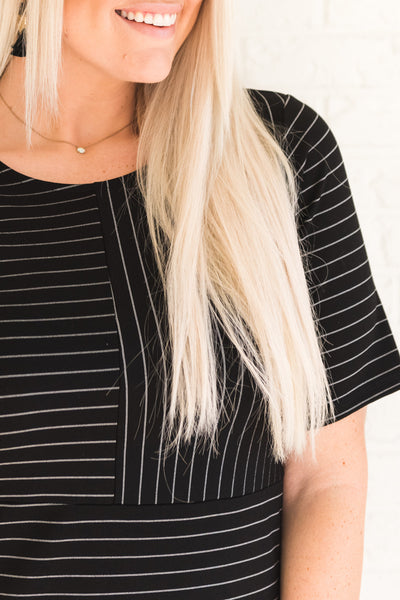 Black and White Striped High-Quality Dresses for Women