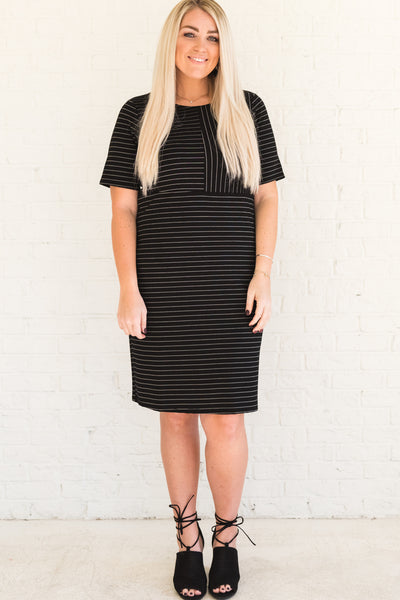 Black and White Striped Knee-Length Plus Size Dresses for Women