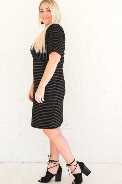 Black and White Striped Affordable Online Boutique Plus Size Clothing for Women